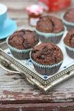 Muffiner med chokladefterrätten Arkivbild