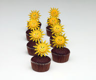 Muffiner med chokladefterrätten fotografering för bildbyråer