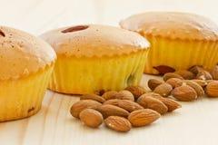 Muffiner med mandelar och frukt Royaltyfri Bild