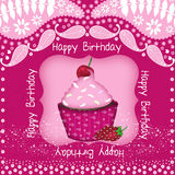 Muffinfödelsedagkort Royaltyfria Bilder