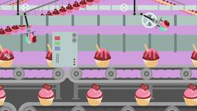 Muffinfabrik som är rörande på en transportör i tecknad filmstil royaltyfri illustrationer