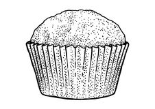Muffinillustration, teckning, gravyr, färgpulver, linje konst, vektor Stock Illustrationer