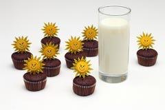 Muffins γάλακτος και σοκολάτας Στοκ Εικόνες