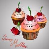 Muffins κερασιών με το ρόδινο παφλασμό κερασιών και χρώματος Στοκ εικόνα με δικαίωμα ελεύθερης χρήσης