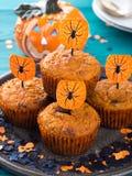 Muffins κολοκύθας για το κόμμα παιδιών αποκριών Στοκ φωτογραφία με δικαίωμα ελεύθερης χρήσης