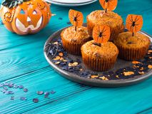 Muffins κολοκύθας για το κόμμα παιδιών αποκριών Στοκ φωτογραφίες με δικαίωμα ελεύθερης χρήσης