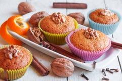 Muffins ξύλων καρυδιάς Στοκ φωτογραφία με δικαίωμα ελεύθερης χρήσης