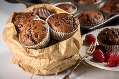 Muffins σοκολάτας με τα κόκκινα juicy σμέουρα Στοκ Εικόνες