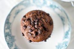 Muffins σοκολάτας στο πιάτο πορσελάνης Στοκ φωτογραφία με δικαίωμα ελεύθερης χρήσης