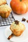 Muffins της Apple κολοκύθας με streusel Έννοια ημέρας των ευχαριστιών άσπρος Στοκ φωτογραφίες με δικαίωμα ελεύθερης χρήσης