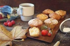 Muffins της Apple, φλυτζάνι του τσαγιού και φύλλα φθινοπώρου Στοκ Φωτογραφίες