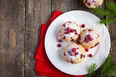 Muffins των βακκίνιων για το γεύμα Χριστουγέννων Στοκ Φωτογραφίες