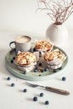 Muffins ψίχουλου βακκινίων με τα φρέσκα βακκίνια στοκ φωτογραφία με δικαίωμα ελεύθερης χρήσης