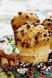Muffins. Freshly baked muffins with chocolate chips and sugar stock image