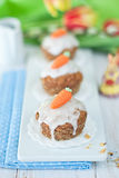 Muffins. Carrot muffins with sugar carrot Stock Image