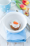 Muffins. Carrot muffins with sugar carrot Royalty Free Stock Images