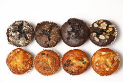 Muffins. Top view of flavored muffins stock images
