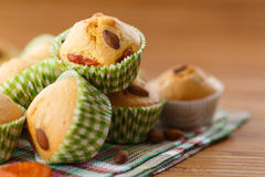Muffins with almonds and dried apricots Stock Photo