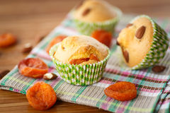 Muffins with almonds and dried apricots Stock Photography