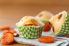 Muffins with almonds and dried apricots Royalty Free Stock Photography