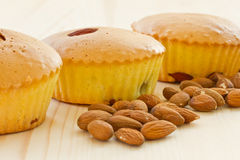 Muffins with almonds and fruit Royalty Free Stock Image