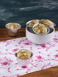 Muffins in aluminum form. With almond royalty free stock images