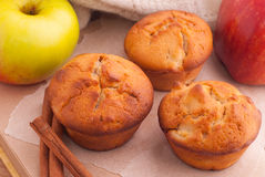 Muffins with apple and cinnamon Stock Photos