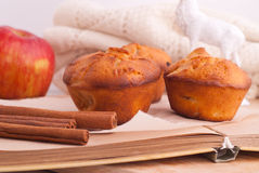 Muffins with apple and cinnamon Stock Photo