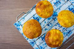 Muffins with apple on a cooling rack Royalty Free Stock Images