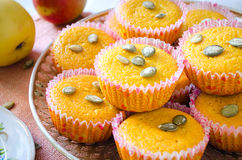 Muffins with apples and pumpkin seeds Stock Image