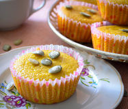 Muffins with apples and pumpkin seeds Stock Images