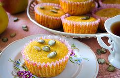 Muffins with apples and pumpkin seeds Royalty Free Stock Photography