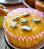 Muffins with apples and pumpkin seeds Stock Photo