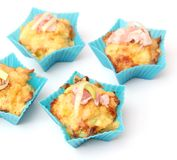 Muffins with bacon and leek Stock Photos