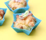 Muffins with bacon and leek Stock Photo