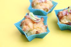 Muffins with bacon and leek Royalty Free Stock Image