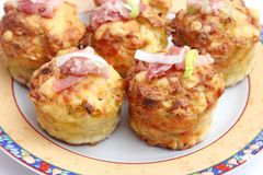 Muffins with bacon and leek. Some fresh muffins with bacon and leek Royalty Free Stock Images