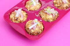 Muffins with bacon and leeks Stock Photos