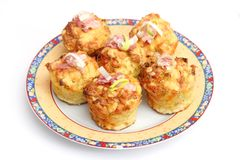Muffins with bacon and leeks Stock Images