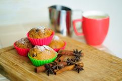 Muffins with badian stars and cinnamon sticks. Muffins with badian stars and cinnamon sticks, shallow depth of field royalty free stock image