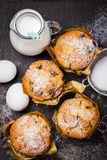 Muffins with baking ingredients Stock Images