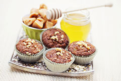 Muffins with banana and toffee Stock Photo