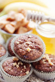 Muffins with banana and toffee Royalty Free Stock Photo