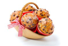 Muffins in a basket Stock Photos