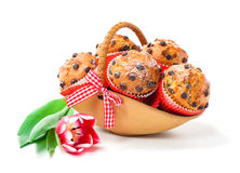 Muffins in a basket Royalty Free Stock Photography