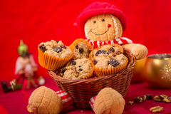 Muffins in a basket Royalty Free Stock Image