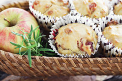 Muffins with becon and apple Stock Photos