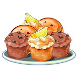 Muffins with berries, chocolate and lemon slices Royalty Free Stock Images