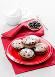 Muffins with berries. On red plate Royalty Free Stock Photo