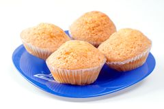 Muffins on blue dish stock images